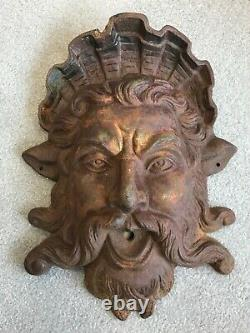 Vintage Cast Iron Poseidon Neptune Fountain Spitter Spout 18 16 lbs Yard Art