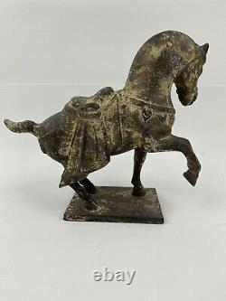 Vintage Cast Iron Tang Dynasty Look Horse Statue 5.4 Lbs 7.75H x 8.5 L x3.75W