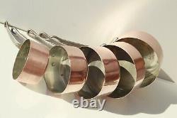 Vintage Copper Pan Sauce Pan Set of 5 Tin Lined Cast Iron Handles 8.8lbs