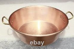 Vintage French Copper Jam Pan Hammered With Bronze Handles 14.8inch 3.7lbs
