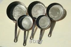 Vintage French Copper Sauce Pan Set 5 Tin Lined Cast Iron Handles 1.5-2mm 11.7lb