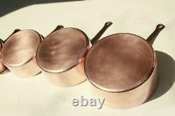 Vintage French Copper Sauce Pan Set 5 Tin Lined Cast Iron Handles 2mm 11.9lbs