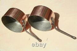 Vintage French Copper Sauce Pan Set 5 Tin Lined Cast Iron Handles 2mm 14.8lbs