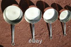 Vintage French Copper Saucepan Set of 5 Tin Lined With Cast Iron Handles 8.8lbs
