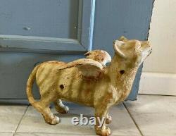 Vintage Large Cast Iron Winged Cat Door Stop Yard Art 12 13lbs