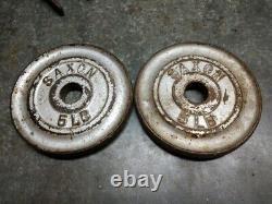 Vintage Saxon Barbell pair 5 lb standard weight plate 1930 1940 era htf rare