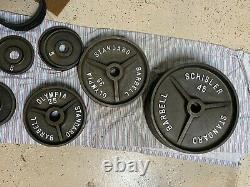 Vintage Schisler Deep Dish Weight Plates Rare 340lb Set EXCELLENT CONDITION
