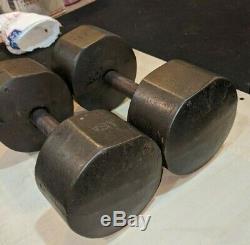 Vintage York 50lb Pair Cast Iron Roundhead Dumbbells Weight USA 50 Pound