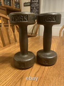Vintage York 9 lb. Round Head Dumbbells