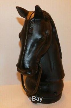 Vtg 16lb Equestrian Cast Iron Horse Head Ring Hitching Antique Newel Post Topper