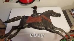 Vtg RARE 43LB Cincinnati Stove Works Cast Iron Horse Rider Advertising Folk Sign