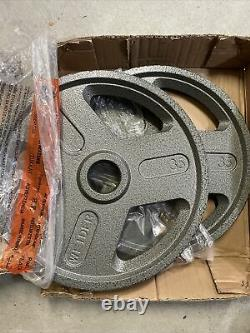 Weider Olympic Weight Plates Pair- Brand New Cast Iron 70 Lbs Total! Barbell