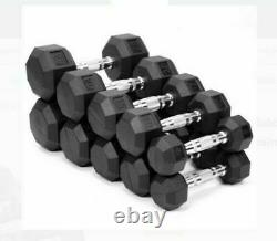 Weider Rubber Hex Dumbbells Weights YOU CHOOSE 10 15 20 25 30 35 40 LB NEW