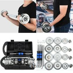 Weight Dumbbell Set Adjustable Fitness GYM Home Cast Full Iron Steel Plates 44lb