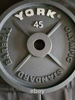 YORK Barbell 45 Lb Olympic Weight Plates Pair- Brand New Excellent Quality
