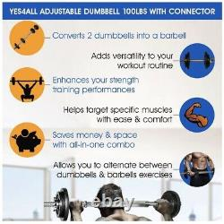 Yes4All 190 lb Total Adjustable Dumbbell Weight Set with Connector NOT 200 LB