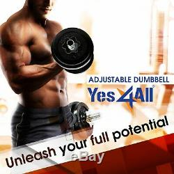Yes4All 200 lb Adjustables Dumbbell Set Cast Iron Dumbbell Weight Plates Workout