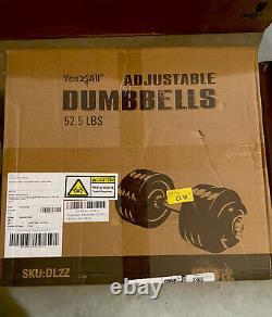 Yes4All Adjustable Dumbbell SINGLE 52.5LB Cast Iron Chrome Bar