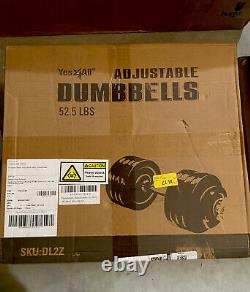 Yes4All Adjustable Dumbbell Weight 52.5LB Cast Iron Chrome Bar (SINGLE Dumbbell)