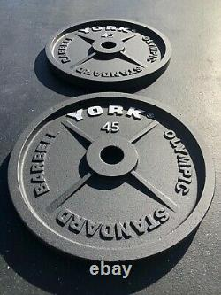 York Barbell CAST IRON Olympic 45 lb Plates PAIR Brand New 2 inch hole