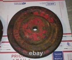 York Vintage Rare Red 2 X 50 LB = 100 POUNDS STANDARD 1-1/8 HOLE WEIGHT PLATES