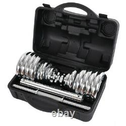 (110lb /66lb) Réglable Poids Fonte Dumbbell Barbell Kit Home Workout Tool