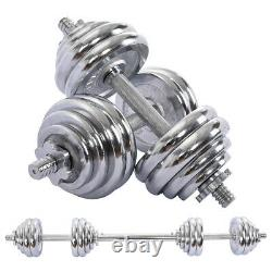 1 Paire Haltères Réglables Barbell Set Gym Strength Weight Cast Iron 66/110 Lbs