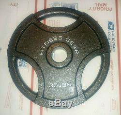 (2) 35 Lb En Fonte Olympic Fitness Engrenage Fer 2 Plaques Poids Nouveau