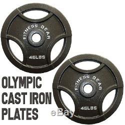(2) Nouveau Fitness Engrenage 45 Lb 2 Grip Olympiques Poids Plaques 90 Lbs. Livres Total