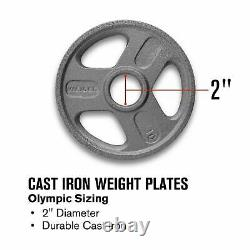 300 Lb Olympic Weight Set Weider Cast Iron Hammertone Plaques 7ft Barbell Collars