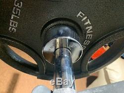 300 Lb Pound Poids Set Olympique Barbell 7 Plaques En Fonte Ft Steel Bar Gymnase