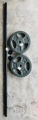 3-pièce Droite 5' Haltère Avec (2) 25 Lb De Poids Des Plaques 1 Banc Set Combo