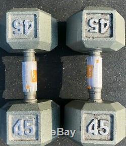 45 Lb En Fonte Haltère Paire (ergo Poignée Contour) De 90 Lb Cap Barbell Total