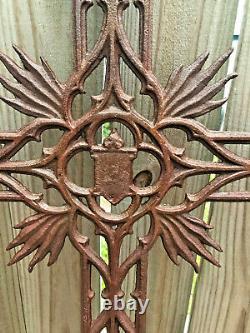 4' Antique Sand Cast Iron Cross Garden Française Crucifix Cemetary Memorial £ 30