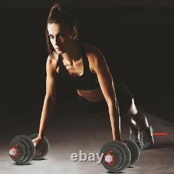 50kg/110lb Ajustable Poids Cast Iron Dumbbell Barbell Kit D'entraînement À La Maison Outils D'entraînement A