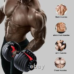 52.5lbs Haltère Poids Réglable Hommes Équipement De Remise En Forme Weight Lifting Gym Us