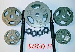 70 Lb Cast Réglable Haltère Poids Set Cap 5-10-15-20-25-35 Fast Shipping