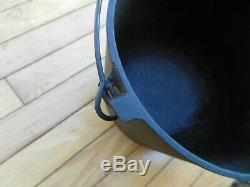 # 7 # 6 Fonte Bean Pot Kettle 8 7/8 Diamètre 8 Lbs 9 Ozs Chaudron De Nice