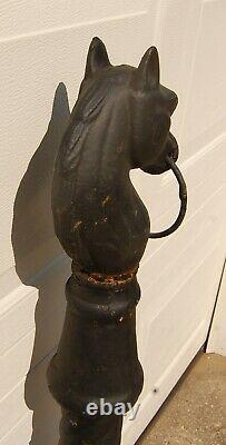 Antique Cast Iron Horse Head Hitching Post, 43 Tall, Ornate Molded Post, 50 Lbs