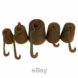 Antique Fonte Échelle De Poids Lot Glissement 5 Hanging Hook 22 Masses Lb Total