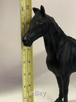 Antique Hubley Fonte Noir 12 Cheval Statue Figurine Porte D'arrêt Lourd 6 Lbs