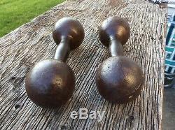 Antique Paire Nice Fonte Dumbells Globe Type 14+ Lb. Vtg. Musculation