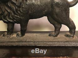 Antique Victorian Lourd Cast Iron Lion Énorme Art Statue Sculpture Doorstop 18 Lbs