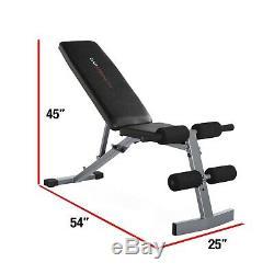 Banc D'exercice Avec 150 Lb Haltère Poids Set Barbell Support De Rangement Home Gym Fit