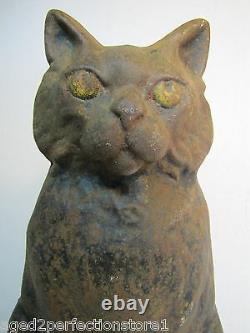 Black Cat Antique Cast Fer Doorstop Scary Stare Figural Statue Décorative 12 Lb
