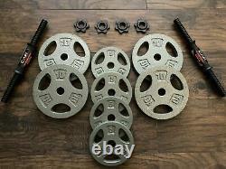 Bouchon 70lb Réglable Dumbbell Weight Set Cast Iron Plates Steel Hd Handles