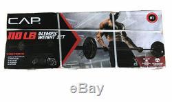 Cap 110lb Olympique 2 Poids Set 7' Pied Bar 25lb 10lb 5lb Plate Paires Gym Accueil