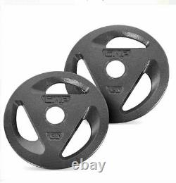 Cap 2 X 25 Lbs Olympic Grip Weight Plates 2 Trou 50 Lbs Barbell Weightlifting