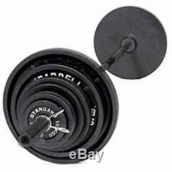 Cap 300 Lb Fonte Olympique Poids Set 7 Pi Bar Plaques Grip De Levage Colliers Gym