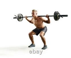 Cap 7' Foot 30lb Olympic Weight Lifting Barbell 3 Piece 300 Lbs Capacité